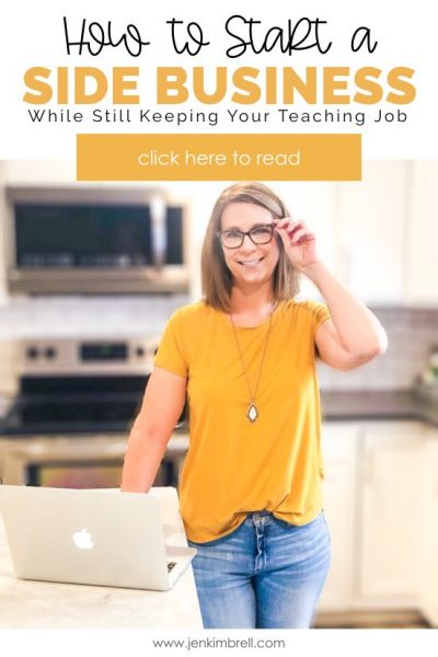 smiling women with computer thinking about how to start a side business as a teacher