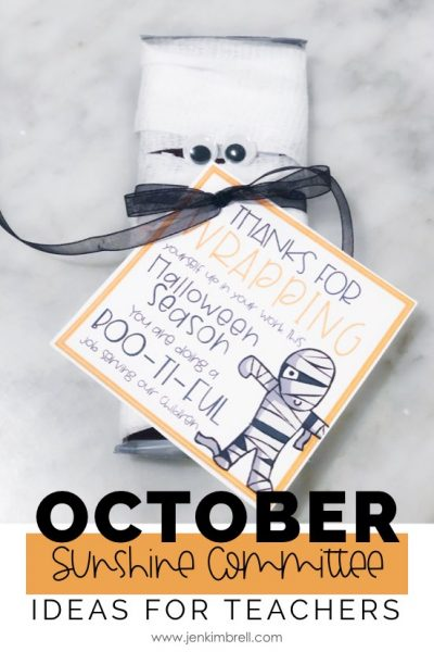 Mummy candybar with gift tag and ribbon for October Sunshine Committee Ideas