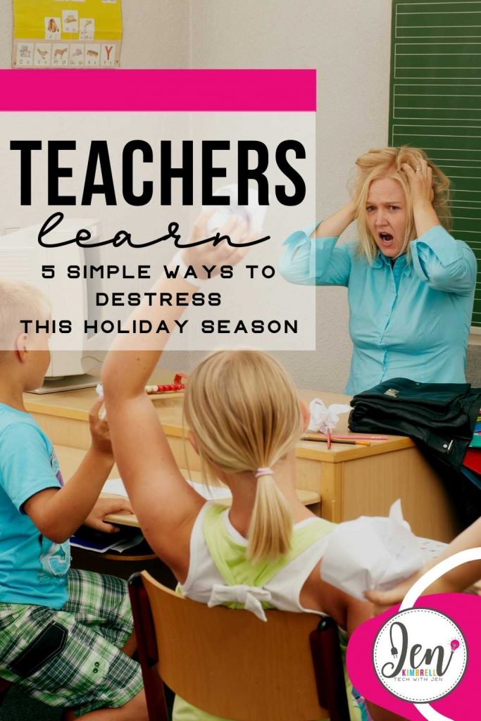 teacher stressed with students in the classroom during the holiday season
