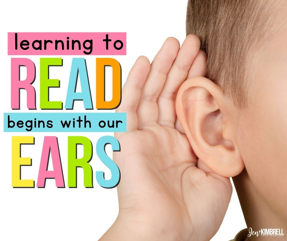 """Student holding ear quote """"learning to read begins with our ears"""""""